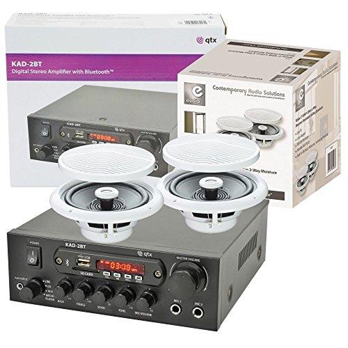 QTX Bluetooth Amplifier & Ceiling Speakers For Bathroom, Kitchen, Sauna, [Import UK-]