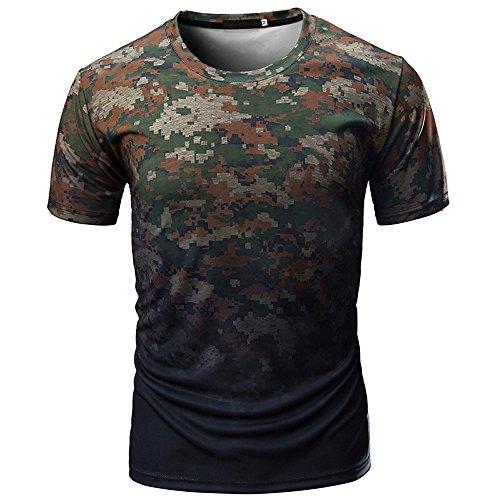 Dragon868 Herren Lässiges bequemes elastisches T-Shirt mit Camouflage Print