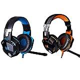 Micro-casque VersionTech EACH G2000 Casque Gaming Casque Gamer Headset Headphone Gaming Headset Headphone Gamer Casque filaire Confortable 3.5mm USB LED Casque avec micro pour PC Game-Bleu et Noir.