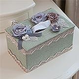 SMC Tissue-Box Fach Haushalt Kreative Continental Tissue Box Luxus Wohnzimmer Couchtisch Spitze Einfache Stoff Nette Papier Box (Color : Green)