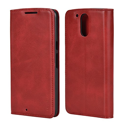 Mulbess Ledertasche im Ständer Book Case für Motorola Moto G4 und Moto G4 Plus Tasche Hülle Leder Etui,Wein Rot