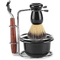 4Pcs Kit de Afeitar Set de Cepillos con Soporte de Acero Inoxidable Sostenedor de Afeitar Shaver Shaving Bowl para Hombres Manual Shave