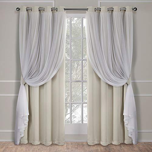 Exclusive home catarina layered coppia pannello oscurante e velo tenda della finestra con occhielli, poliestere, sabbia, 84x 52x 0.2cm