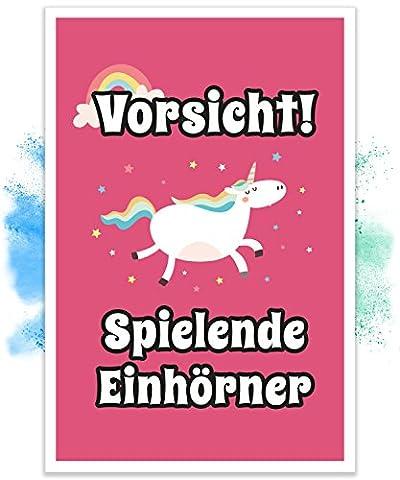 Einhorn Schild – Vorsicht Spielende Einhörner (20x30cm), Süße Wand-Deko, Türschild