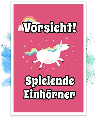 Einhorn Schild - Vorsicht Spielende Einhörner (20x30cm), Süße Wand-Deko, Türschild für Mädels-Wohnung und Mädchen-Zimmer, Geschenkidee und Geburtstags-Geschenk, Lustige Überraschung für beste Freundin