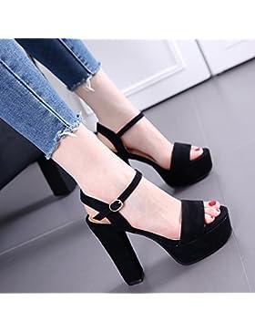 SDKIR-Estate sandali punta aperta irregolare con una parola con impermeabile Taiwan a tacco alto scarpe, satin...