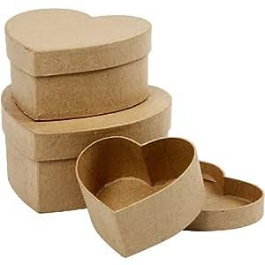 Creativ - Set di 3 scatole in cartone, a forma di cuore, diametro: 10+12,5+15 cm, assortite