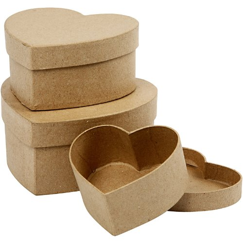 Creativ - Set di 3 scatole in cartone, a forma di cuore, diametro: 10+12,5+15 cm, assortite