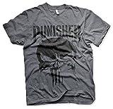Photo de Marvel Officiellement sous Licence Punisher Big Skull T-Shirt pour Hommes (Heather Foncé) par Marvel