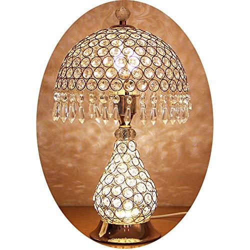 Hbwz Europäische kristall tischlampe, Moderne minimalistische kreative Schlafzimmer licht, Wohnzimmer Hochzeit Dekoration nachttischlampe,Gold