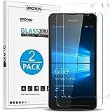 Lumia 650 Protector de Pantalla OMOTON [2 Unidades] Cristal Templado Microsoft Lumia 650 con[9H Dureza][Garantía  de por vida]