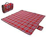 ECD Germany Wasserdichte Gepolsterte Picknickdecke mit Henkel, 200 x 200 cm in der Farbe Rot