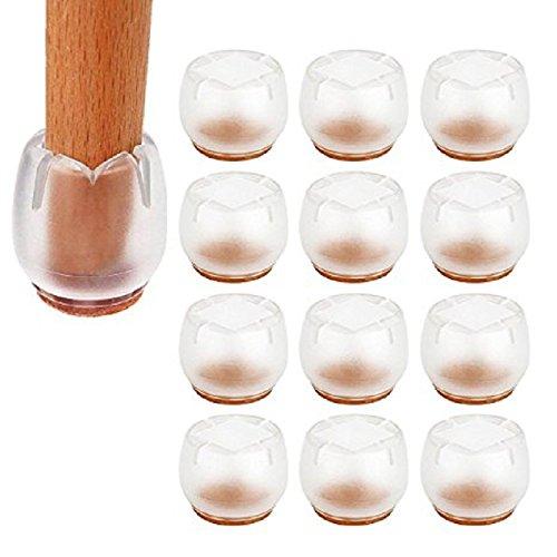 Aeeyui 12PCS Housse de Chaise Table Antidérapant Silicone Embouts de Chaise Pieds Protecteur pour Jambes de Meubles Rondes et Carrés Sol Antidérapant 26mm-31mm
