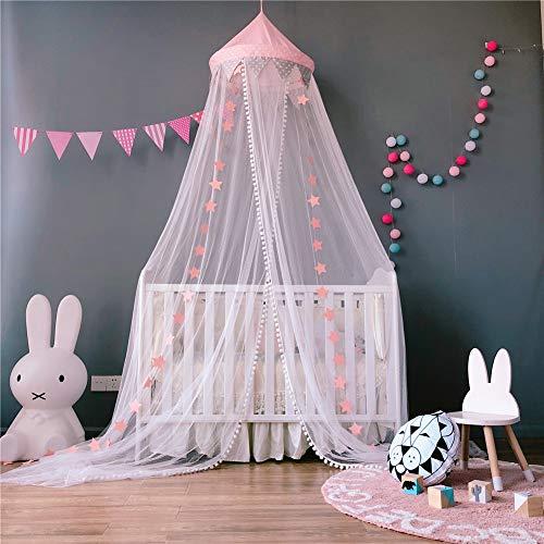 Hayisugar Moskitonetz Kinder Betthimmel Deko Baldachin Prinzessin Bettüberdachung Spielzelte Dekoration für Kinderzimmer 60 * 300cm Baby Moskitonetz, Rosa