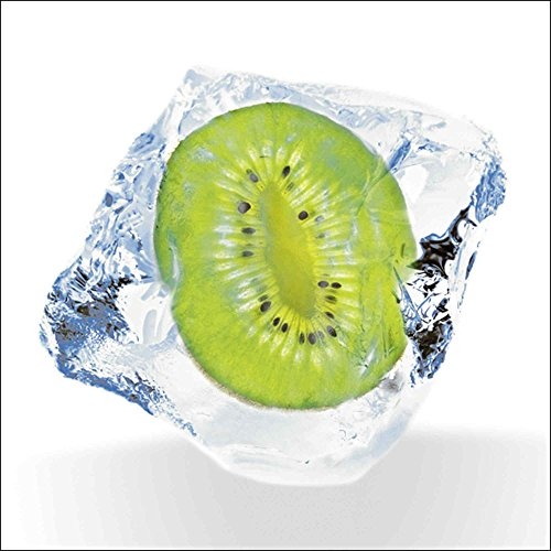 Artland Qualitätsbilder I Glasbilder Deko Glas Bilder 20 x 20 cm Ernährung Genuss Lebensmittel Obst Foto Grün A6MG Kiwi gefroren Eiswürfel - Grün Gefrorenen Glas