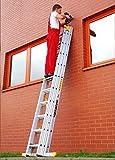 Leiter 3x15 Sprossen Alu Mehrzweck 3teilig Handwerker Vielzweck Industriequalität NEU