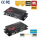 HDMI Extender HDBaseT Two-Way PoE & IR, Uncompressed 4Kx2K@60Hz Over Single CAT5e / 6 / 7, HDR & Dobly Vision+HDCP2.2+RS232, 70M(230ft) 1080P, 40M(130ft) 4K, Dolby Atmos & DTS:X