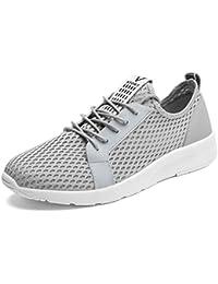 Herren Sneakers Modische Mesh-Oberfläche Atmungsaktiv Freizeitschuhe Schnürsenkel Leichtgewicht Übergröße Laufschuhe Schwarz 46 EU