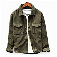 Enjoybuy Mens Corduroy Casual Lightweight Jacket Button Down Regular Fit Two Pocket Front Jacket Shirts Army Green