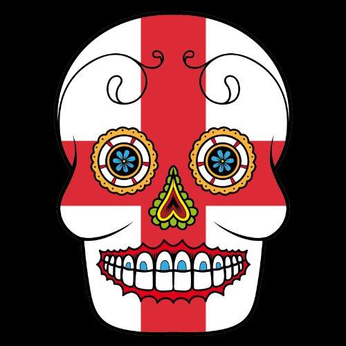 V-T-Shirt - England - Sugar Skull - Fahne - Damen Schwarz