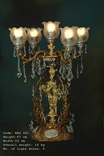 Tischleuchter, Tischleuchte, Messing Barock antik Glas AgEag0441