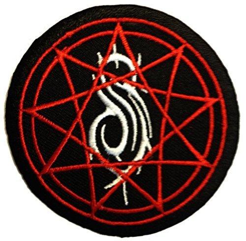 Aufnäher / Bügelbild - Slipknot stern logo - schwarz - Ø7,7 cm -Patch Aufbügler Applikationen zum aufbügeln Applikation Patches Flicken (Logo Sterne)