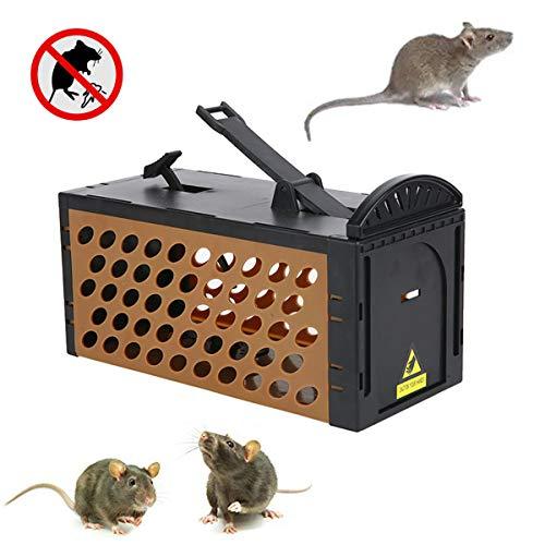 Mausefalle, humane Lebendfalle für Maus, Streifenhörnchen, Ratten, Eichhörnchen, Wühlmäuse, Nagetiere und ähnliche Schädlinge, Kontrollfangköder, sicher in der Nähe von Kindern und Haustieren(Braun)