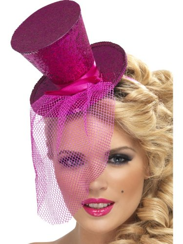 enta Pink Glitter Mini Top Hat (struts-10489) ()