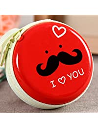 MStick Hipster Tin Metal Round Zip Earphone Cable Earbuds SD Card Carrying Bag KeyCoin Key Coins Case Pouch Purse Wallet (Red)