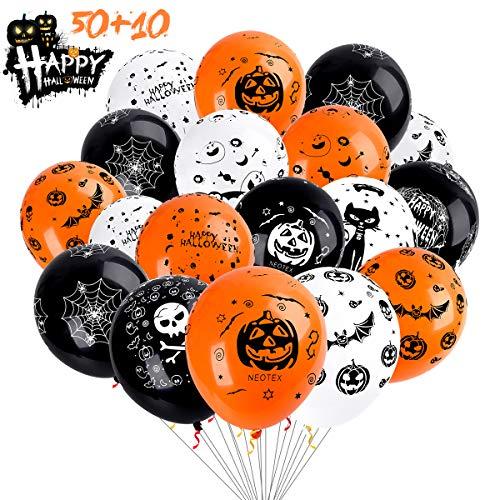 METALBAY Halloween Globos de 60 Piezas, Globos de Látex con Patrones de Calabaza, Cráneo, Fantasmas, Telaraña Decoración de Fiesta Halloween, Raranja, Blanco y Negro