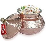 NEW® Cobre/Acero para servir Ware Utensilios Handi pakora/Arroz Handi con cuenco de servir Vajilla Y Tapa para India Alimentos/DIA–5,8pulgadas