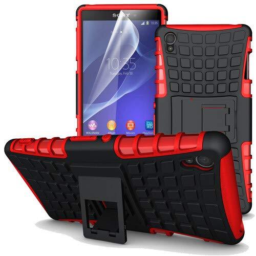 betterfon   Outdoor Handy Tasche Hybrid Case Schutz Hülle Panzer TPU Silikon Hard Cover Bumper für Sony Xperia Z3 Rot (Z3 Handy)