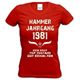 Soreso Design Damen Frauen Shirt 37. Geburtstag Geburtstagsgeschenk Hammer Jahrgang 1981 Freundin,Tante,Tochter,Schwester,Mama Farbe: Rot Gr: S