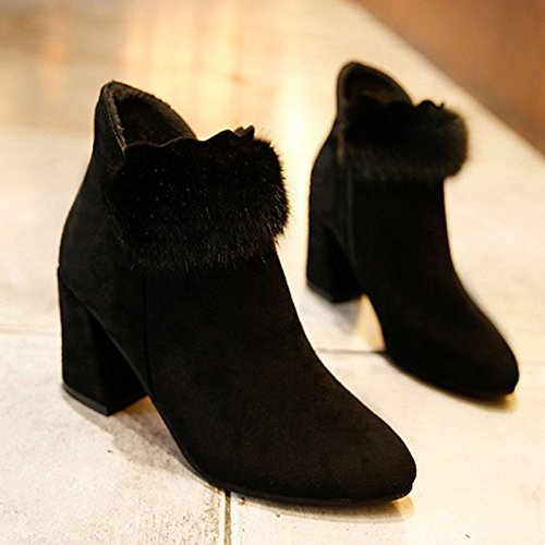 Hsxz Femmes Chaussures Pu Printemps Automne Confort Des Bottes Pour L'extérieur Brun Noir Noir