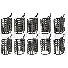 10 X carpe Gros MATCH BARBEAU Matériel de pêche Rond Cage métal Mangeoire 20g NGT