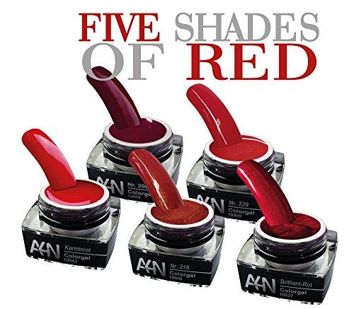 5er-Set 5 SHADES OF RED Profi Colorgel Nagelgel Geschenke-Box Nagelset Gelset mit verschiedenen Rot Tönen