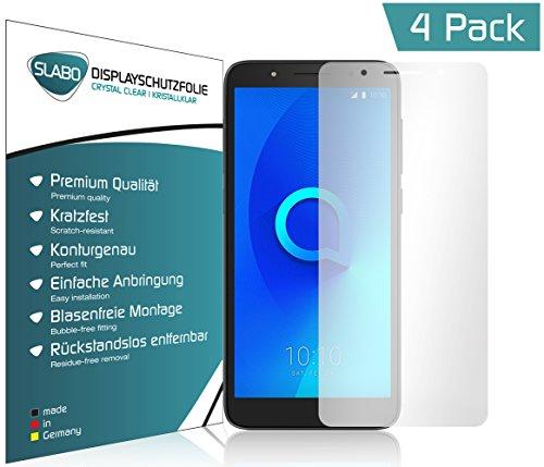 Slabo 4 x Displayschutzfolie für Alcatel 1C Displayfolie Schutzfolie Folie Zubehör Crystal Clear Klar - Unsichtbar Made in Germany