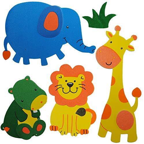 Unbekannt 5 TLG. Set 3-D ! Wandtattoo / Fensterbild - Moosgummi - Löwe Elefant Giraffe - Zootiere - 3-D Wandsticker / wasserfest - ideal auch für das Badezimmer Tiere -..
