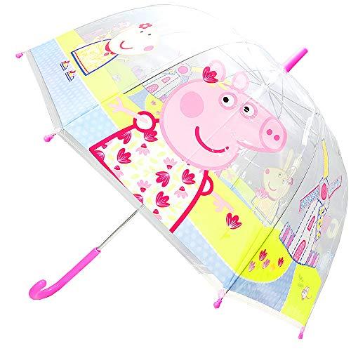 Peppa-Pig Paraguas Cúpula Transparente Manual Infantil (PP11530) (Rosa)