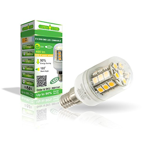 LumenStar LED E14 Lampe 5 Watt Dimmbar - 400lm, 3000K warmweiß, 180° Abstrahlwinkel, ersetzt 50W - Novera