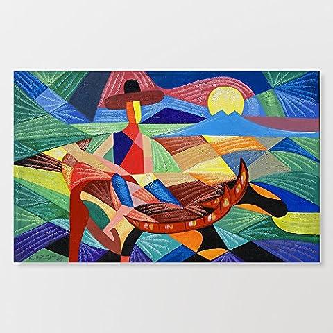 Art abstrait musicale encadrée Toile tendue sur un châssis en bois 30,5x 40,6cm