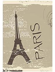 Vintage Paris 4, Paris Eiffel Tour, Poster en Vinyle Affiche Plastifiée Murale Pop-Art Décoration Intérieure avec Dessin Coloré. Grandeur: A4, 210 x 297 mm