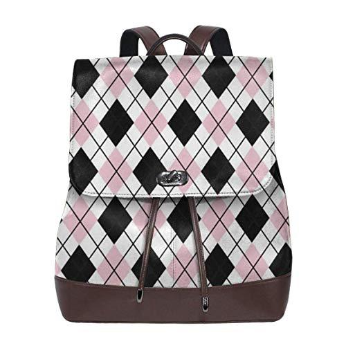 Flyup Women's Leather Backpack Black Pink White Argyle Patterns Laptop Bag Elegant Casual Daypack Travel Shoulder Bag For Women Frauen Leder Rucksack -