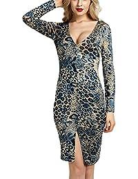 Yujeet Mujer Verano Escote en V Estampado Leopardo Cóctel Vestir Casual Manga Larga Suelto Vestidos