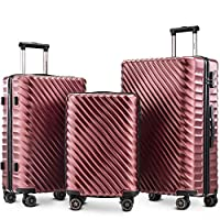 Merax Luggage Set 3 Pieces- Hard Shell Suitcases Cabin Hand Travel Wheels ABS+PC Case with Lock (Wine Red)