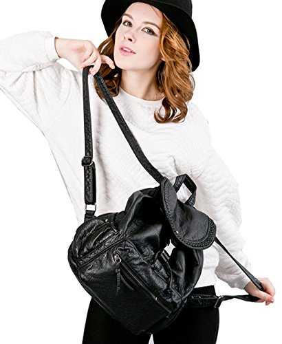 Greeniris le donne lo zaino moda vera pelle zaino della scuola per ragazze Rosa Rosa