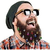 16pc Ornements Barbe Clochettes Barbe de Noël Pince Barbe du Père Noël, 12 Couleurs d'Ampoules et 4 Clochettes Sonores Vibrantes