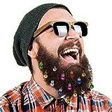 16 piezas de adornos para barbas Campanas navideñas para barbas Ganchos de barba de Santa Claus, 12 colores de bombillas y 4 campanas vibrantes.