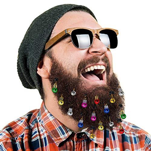 16 Stück Bartschmuck Weihnachten Bart Kugeln Weihnachtsmann Clipverschluss , 12 Bunte Weihnachtskugeln und 4 Fröhlich Klingelnde Glöckchen