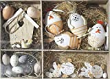 Nostalgic Garten 26teiliges Osterset Ostereier Osterhänger Hase Huhn Osterdeko Naturtöne Ostern